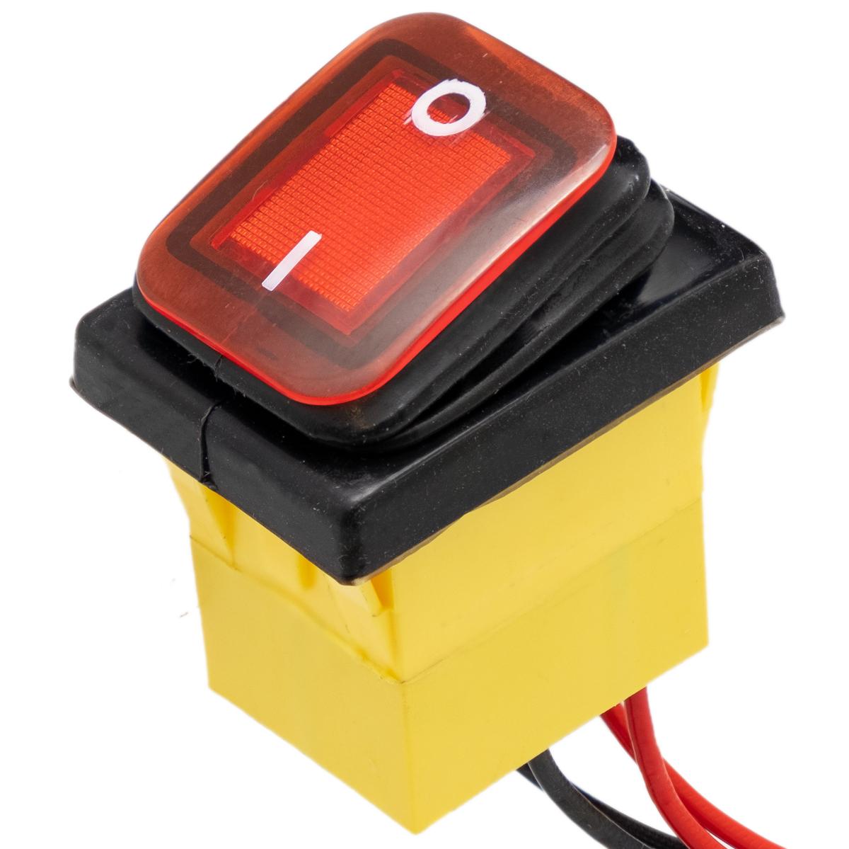 Interruptor IP68 DPST ON-OFF 24V/30A, Rojo con LED