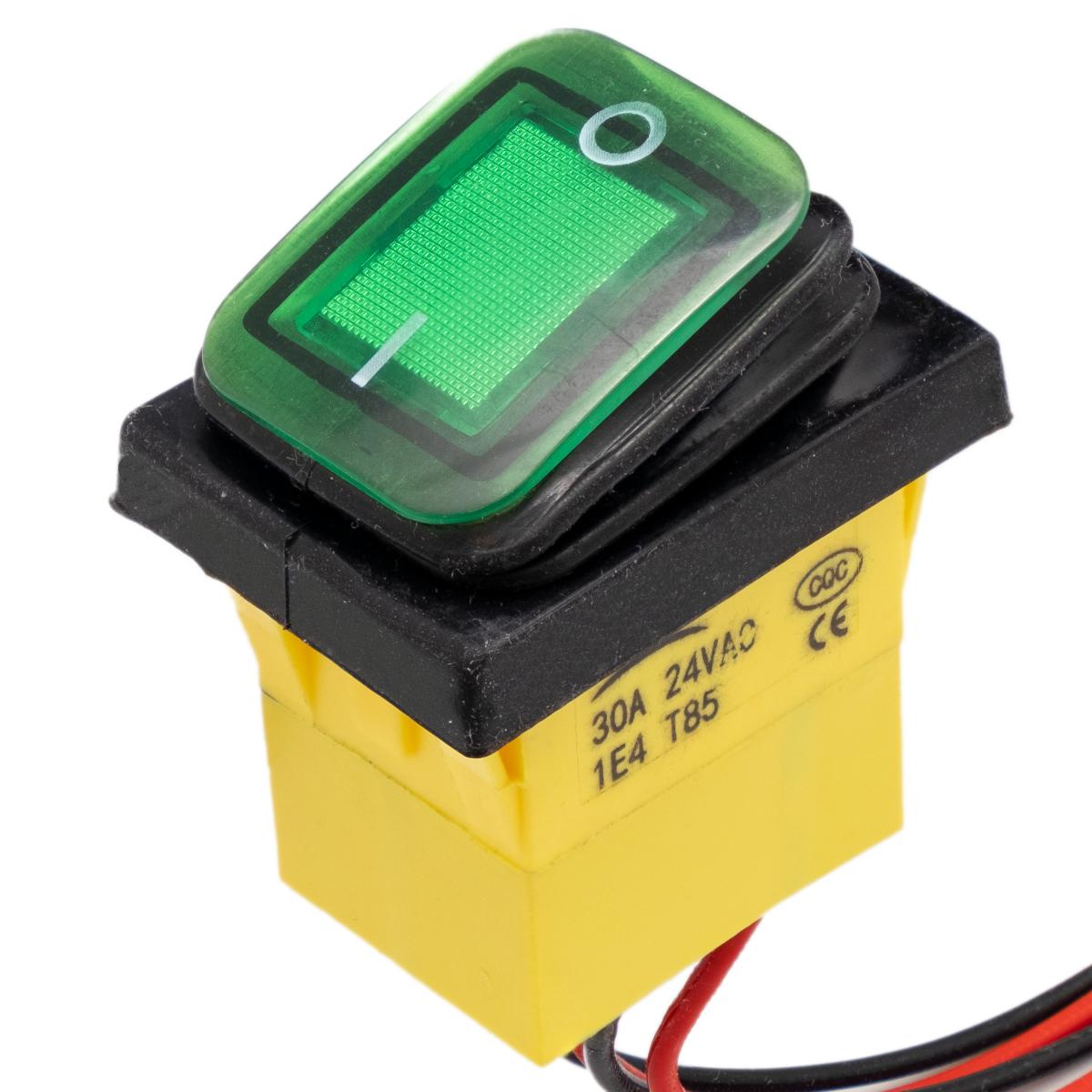 Interruptor IP68 DPST ON-OFF 24V/30A, Verde con LED