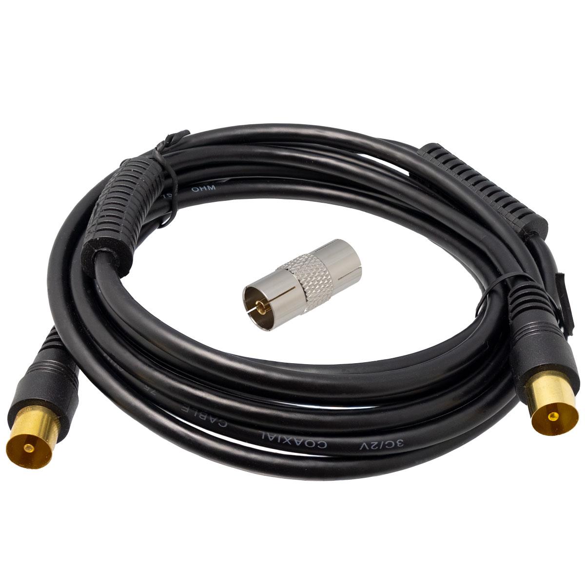 Conjunto cable de antena COAXIAL 2,5m negro con ferritas Macho - Macho y adaptador Hembra - Hembra