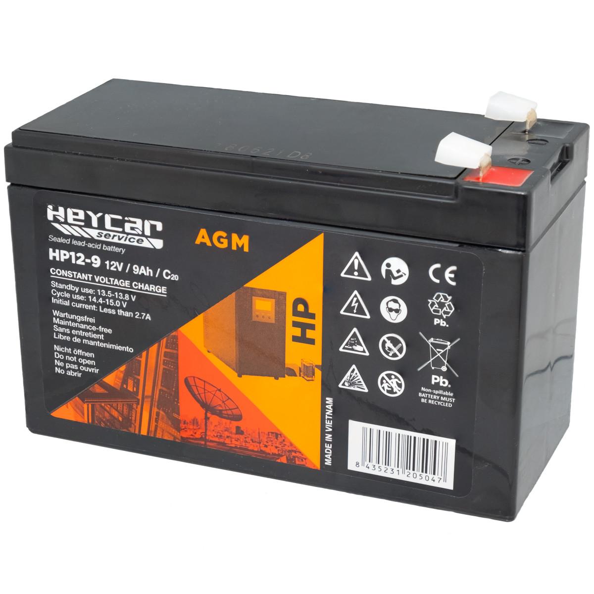 Batería 12V 9Ah HeyCar serie HP 151x65x93.5/100 (L x W x H)