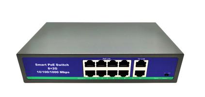 Ver informacion sobre Switch POE 10 puertos ( 8POE + 2UPLINK ) + alimentador integrado