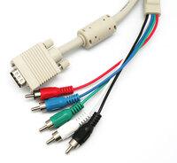 Ver informacion sobre VGA MACHO - 3x RCA(RGB) + 2xRCA, 1.8m