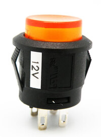 Ver informacion sobre PULSADOR LUMINOSO, INTERRUPTOR ON-OFF, 4P. 12V, Ø-15mm, COLOR AMARILLO