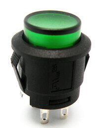 Ver informacion sobre PULSADOR LUMINOSO, INTERRUPTOR ON-OFF, 4P. 12V, Ø 15mm ,COLOR VERDE