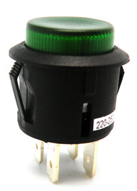 Ver informacion sobre PULSADOR LUMINOSO, INTERRUPTOR ON-OFF, 125V. 10A, 250V 6A, Ø 20mm ,COLOR VERDE