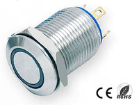 Ver informacion sobre Pulsador Anti-vandálico, OFF-(ON) SPST, LED 12V Azul