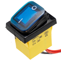 Interruptor IP68 DPST ON-OFF 12V/30A, Azul con LED