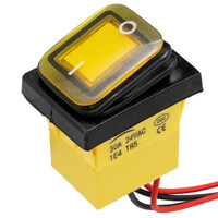 Interruptor IP68 DPST ON-OFF 24V/30A, Amarillo con LED