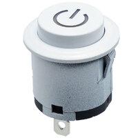 Interruptor blanco OFF-ON redondo, con simbolo POWER, 22mm