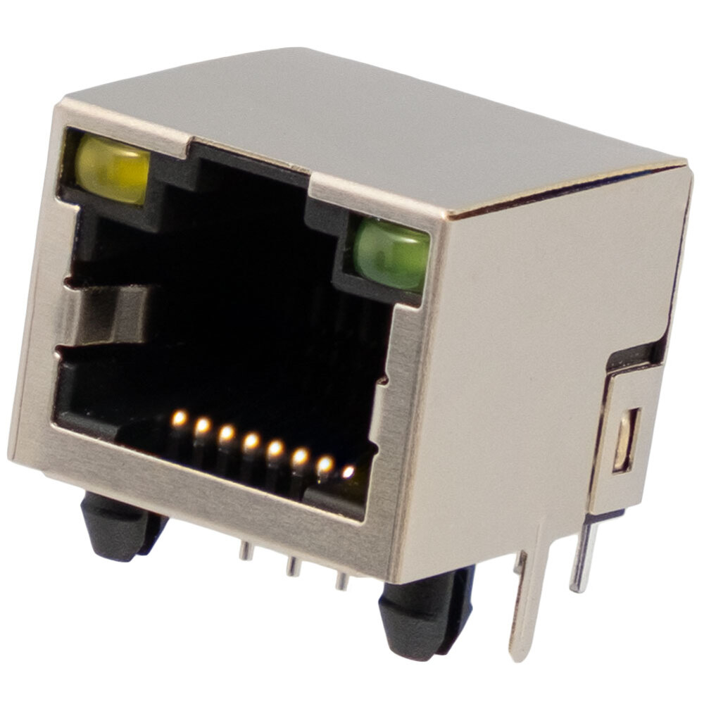 Shielded 90º RJ45 base for chassis w/ LEDs