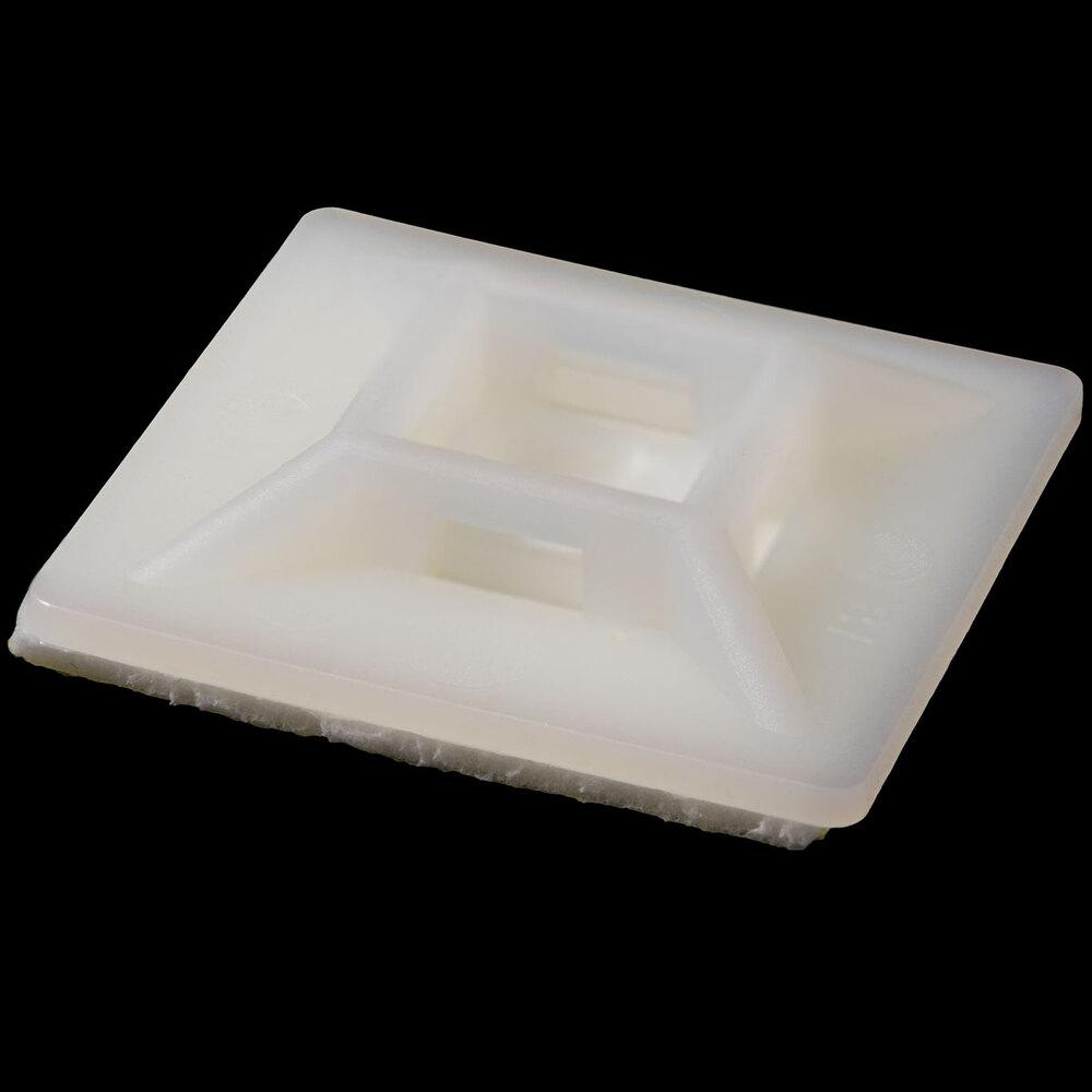 Base adhesiva y/o tornillo para bridas, 28x28mm, Natural