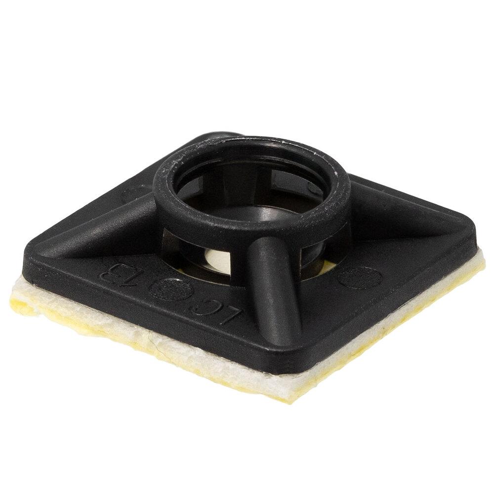 Base adhesiva y/o tornillo para bridas, 28x28mm, Negro