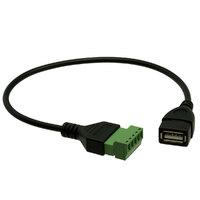Conexión USB-A Hem. con terminales, 0.25m