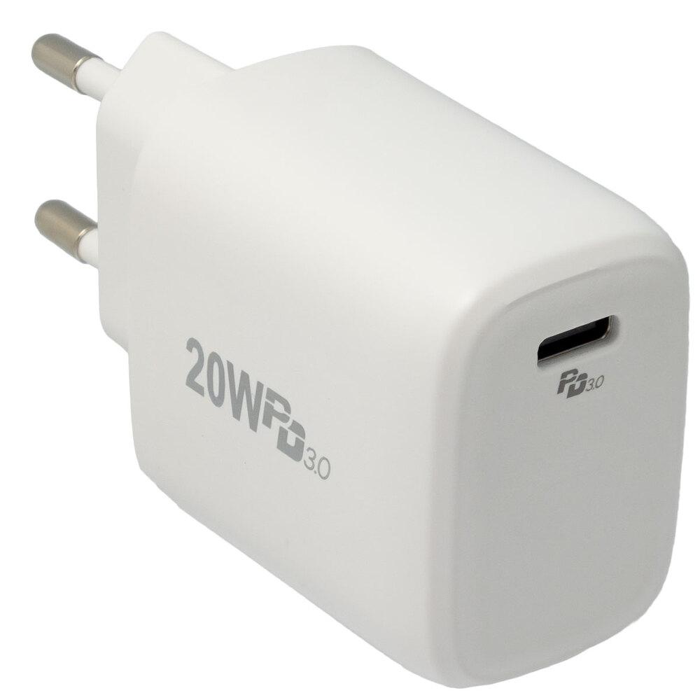 Cargador de pared USB-C 20W con Power Delivery (PD), Blanco