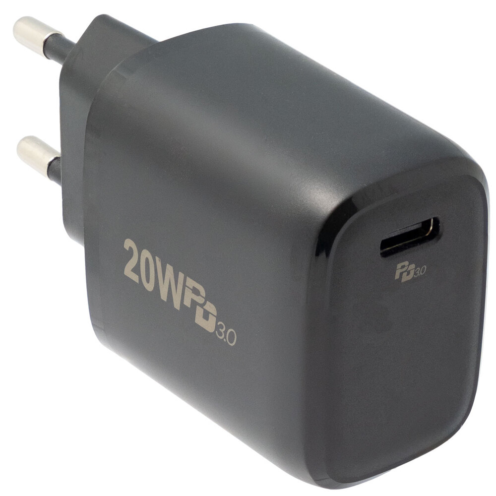 Cargador de pared USB-C 20W con Power Delivery (PD), Negro