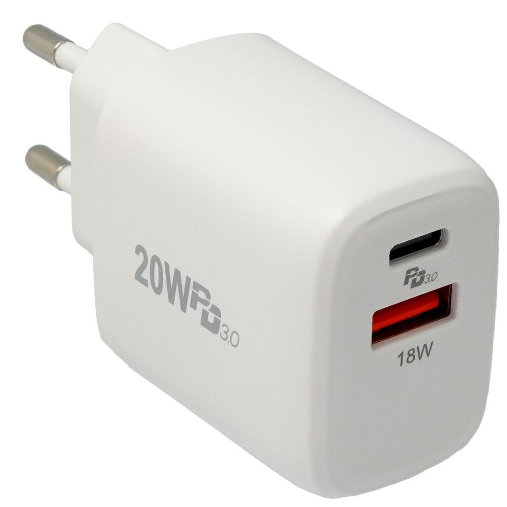 Cargador de pared con USB-C y USB-A 20W, Blanco