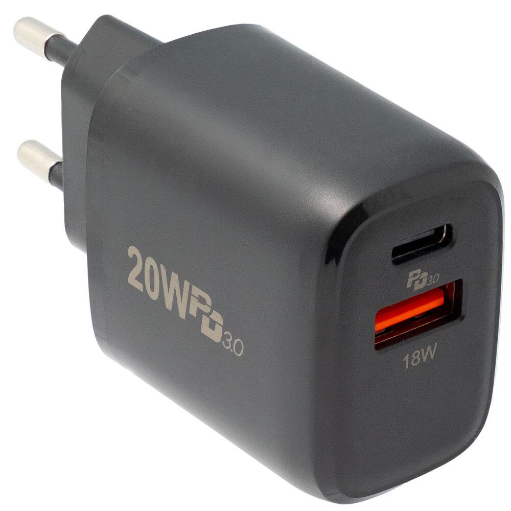 Cargador de pared con USB-C y USB-A 20W, Negro